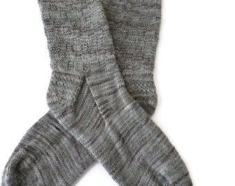 Socks - Hand Knit Men's Gray Checkerboard Socks - Size 9.5-11 - Casual Socks