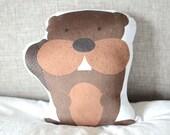 Woodland Animal Pillow, Beaver Stuffed Animal, Toddler Gift, Forest Animal Nursery, Baby Boy Bedding, Soft Plush Pillow, Playroom Decor