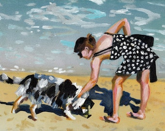 Dogs games on the beach-acrylic ORIGINAL painting  on canvas - people and dogs - wall art- wall decor- home decor