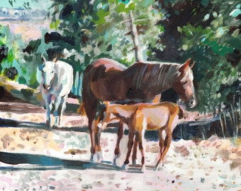Kibbutz Baram in north Israel- Wild horses -Mother and baby - horse  art- original painting -acrylic painting on canvas
