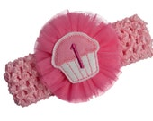 One Year Old Cupcake Birthday Crochet Headband with Monogrammed Birthday Year and Tulle Flower  - 1st Birthday Light Pink