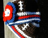 Newborn New England Patriots Football Beanie Hat,  Boys or Girls Design.  Custom order also available all sizes.