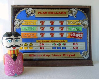 1980s Slot Machine Glass Window Panel Lucky Seven Lotto Game Coin Machine Casino Game Room Decor