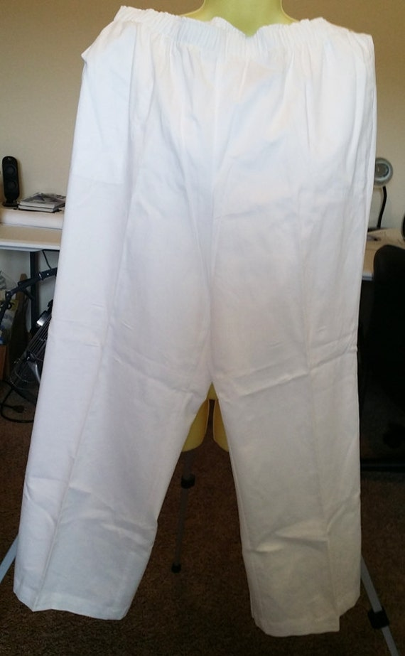 white pants slacks casual elastic waist  size XXL womens summer pants clothing