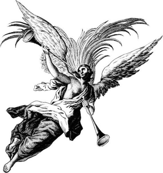 angel blowing horn clipart png clip art Digital art Download digital images printable art digi stamp graphics Image christmas religious