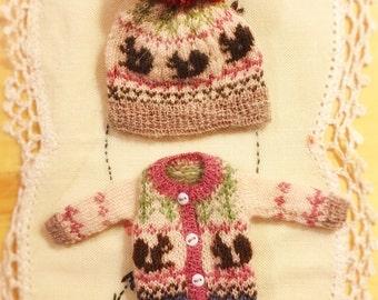 jiajiadoll hand knitting-coloured squirrel knitted sweater and hat lati yellow pukifee irrealdoll