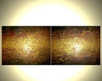 Abstract Gold Painting, Palette Knife Art, ORIGINAL Bronze Metallic, Textured Gold Bronze Art 72x24 Lafferty, Sale 22% Off