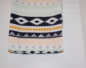 tribal changing pad cover- arizona changing pad cover- mint changing pad cover