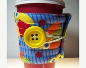 Winter Clearance Coffee cup sleeve / coffee cup cozy handmade quilted fabric coffee cozy : owls