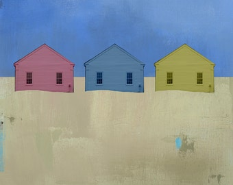 Colorful Beach Cottage Canvas Print, Beach Houses, Coastal, Seascape Art Recycled Art, Repurposed Art, Cape Cod, Provincetown, Mixed Media