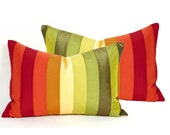 Color Blocked Fall Pillows, Set of Two, Color Banded Pillows, Colorful Autumn Harvest, Stripes, Striped, Unique, Lumbar Cushions 14x20