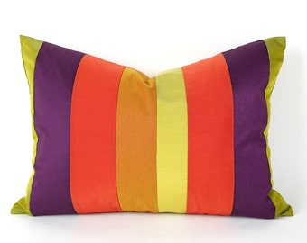 Orange Purple Pillows, Colorblock Pillows, Fall Striped Pillow Covers, Color Band, Color Block Pillows, Oblong Lumbar Pillows 14x20