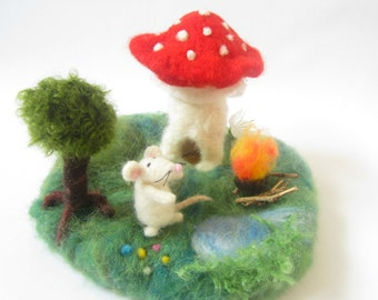 Play Mat,Waldorf Felted Playscape,Waldorf Nature Landscape Play,Mushroom house,