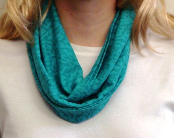 Jade Turquoise Floral Infinity Scarf - Circle Scarf - Loop Scarf - Forever Scarf - Handmade Rhode Island