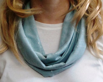 Seafoam Green Shimmer Sparkle Infinity Scarf - Sea Glass Green Circle Scarf - Forever Scarf