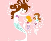 "SHOPWIDE SALE 8X10"" mermaid mother & twin girls giclee print on fine art paper. light pink, purple, brunette, blonde."