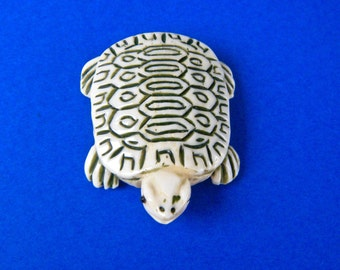 "Turtle Bead or Pendant Chinese Bone 1 3/8"" by 1 1/8""  New"