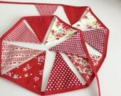 Red and Cream Bunting fabric garland 1.8m 12 small flags
