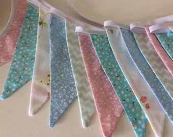 Sale 30% off Pastel bunting, pastel fabric garland, 14 flags, bedroom or  party decoration