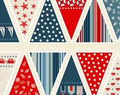 Nautical Bunting Cotton Fabric by Makower from their Sea View Collection, DIY Bunting Panel Seaside Fabric, per bunting panel