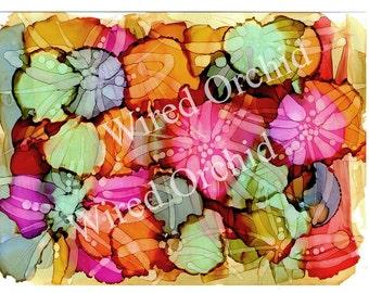 Tropical Splash Multi Laser Copy of Original Alcohol Ink Artwork / Denim Blue, Mint Green, Orange, Gold, Red, Hot Pink Abstract Design