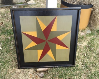 PriMiTiVe Hand-Painted Barn Quilt, Small Frame 2' x 2' - Twirling Star Pattern