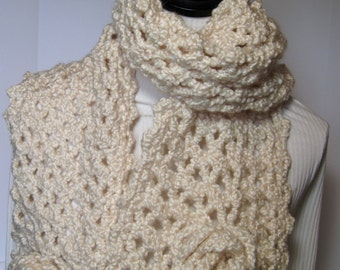 Ivory Scarf, White Scarf, Winter Scarf, Fall Scarf, Crochet Scarf, Crochet Scarves, Ivory Crochet Scarf, Ivory Crochet, Gift for Her, Roses