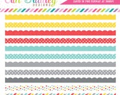 Colorful Scalloped Borders Clipart Commercial Use Clip Art Instant Download