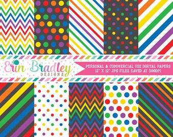 Rainbow Digital Paper Pack Rainbow Patterns Digital Scrapbook Papers Polka Dots Chevron Stripes Instant Download