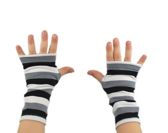 Toddler Arm Warmers in Black White and Grey Slinky Stripes - Fingerless Gloves - LAST PAIR