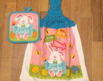 Happy Easter Whole Kitchen Towel & Hot Pad - 2 Piece Set - Spring Bunny Rabbit Butterflies