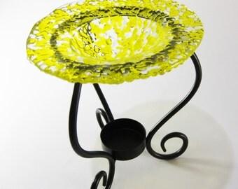 Tart Burner - Yellow Fused Glass , Oil Burner, Home Decorating, Room Scents, Home Fragrance, Perfume Oil Holder