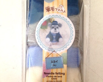 Needle Felt, Roving, felt, DIY, needle felting, blue, dog, puppy, doll, cream, grey, kid, craft, soft, cute, mascot, SET OF 4 colors wool