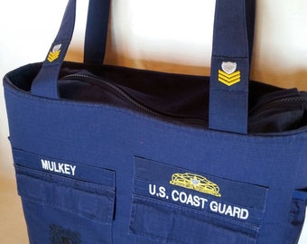 Handmade Coast Guard diaper bag made from your uniform custom made one of a kind