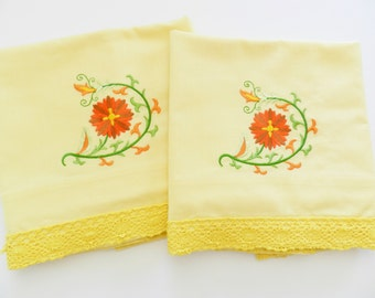 Yellow Pillowcases, Pepperell Pillowcases, Never Used Pillowcases, Machine Embroidery, NOS Yellow Floral Pillowcases, Pillowcase Embroidery