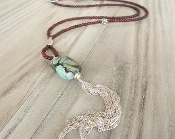 Long Tassel Necklace, Turquoise Necklace, Dark Brown Wood, Sterling Silver Beads, Handmade
