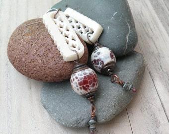 Moroccan Window Earrings, Long, White, Dangle Earrings, Fire Crackle Agate, Boho, Carved Soapstone