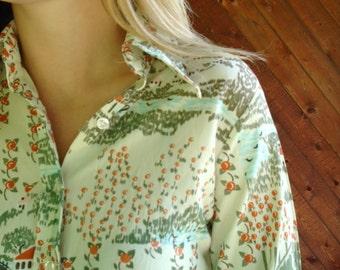 Novelty Landscape Print LS Shirt Blouse - Vintage 60s 70s - XS
