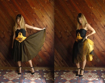 Vtg Couture Chiffon and Satin Mini Dress Gown - 90s -  M 38