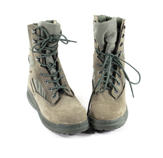 Vintage Military Boots Green Sage Leather Army Steel Toe