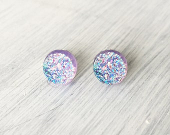 Purple Lilac Faux Druzy Earrings, 8mm Faux Druzy, Glitter Studs, Purple Cabochon Stainless Steel / 1g