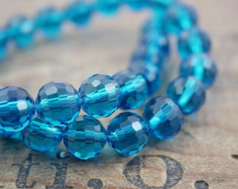 Crystal Faceted 10mm Beads Chinese Crystal Beads Dark Aqua (30)