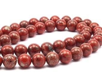 Red Jasper 12mm Round Gemstone Beads 15.5 Inches Full Strand  T19