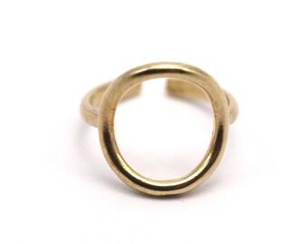 Adjustable Circle Ring - 10 Raw Brass Adjustable Circle Rings - (14-15mm) Mn71