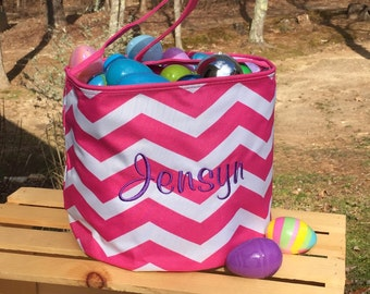 Hot PINK Chevron EASTER Bucket with personalization.  Monogrammed Easter Basket tote.