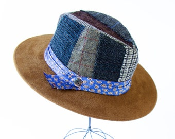 Plaid Fedora Hat Patchwork Hat Wool Tweed Men's Hat Women's Hat Winter Accessories Fall Fashion Gift Boho Chic Tweed Hat Hippie Accessories