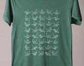 SUMMER SALE mens shirt, unisex tshirt, paper cranes, origami inspired, good luck