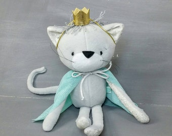 Quince the Cat Doll, Handmade, Stuffed Animal, Toy, Children, Plush, Nursery