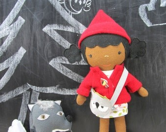 "Handcrafted STUDIO DOLL 15"" - Little Red Riding Hood, Woodland Girl. Handmade, Doll, Girl, Toy, Plush, Children, Gift"