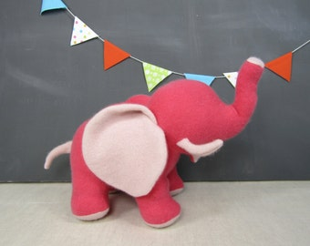 Wool Elephant, Coral Pink, Blush, Cashmere, Handmade, Stuffed Animal, Toy, Children, Plush